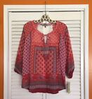 Small/Medium New Anthropologie Red Pink White Bandana Lace Floral Top Floral