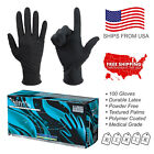100PC Black Latex Exam Tattoo Gloves Powder Free Strong Durable
