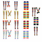 Women Rainbow Striped Knee Thigh High Socks/Arm Warmer Gloves Costume Party Gift