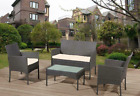 GARDEN FURNITURE SET 4 PIECE RATTAN With SOFA TABLE & CHAIRS OUTDOOR PATIO SET