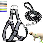 Reflective Step In Pet Dog Harness and Leash Adjustable Nylon Walk Collar Vest