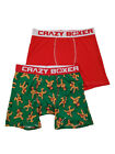 Mens 2-Pack Green Red Gingerbread Man Ninja Christmas Underwear Boxer Briefs