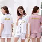 Womens Ladies Satin Wedding Pyjama Set Silk Lounge wear Pajamas Short sleeve pjs