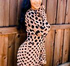 ZARA BLOGGERS JERSEY KNIT LONG CUFFED PUFF SLEEVES RUCHED DRAPED POLKA DOT DRESS