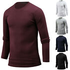 New Mens Stylish Solid Slim Crew Neck Long Sleeve Tee T-shirt Top Blouse W15 S/M