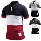Mens Color Match Short Sleeve Henley Pique Polo Casual Collar T-Shirts W25 S-L