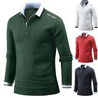 New Mens Dandy Layered Long Sleeve T-Shirts Polo Collar PK Casual Tops W30 S/M/L