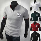 New Mens Stylish Modern Cow Polo Pique Casual China Collar Shirts Tops W384 S/M