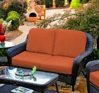 Outdoor Patio Wicker Contemporary Love Seat Colors Cushions Sunbrella Options
