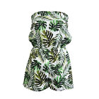 Ladies Playsuit Jumpsuit Leaf Shorts Bandeau Elasticated Summer New Womens