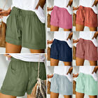 Womens Summer Drawstring Splice Casual Elastic Waist Pocketed Loose Shorts Pants