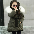 FixedPricekid baby girl fur hooded cotton padded long coat thick warm jacket parka outwear
