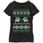 Lost Gods Reindeer Tree Ugly Christmas Sweater Print Girls Graphic T Shirt