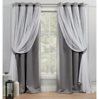 Catarina Soft Grey Blackout Grommet Top Curtain Panel 52 In. W X 84 In. L (2 Pan