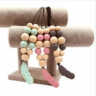 Silicone Wood Feather Pendant Teething Beads Toy Baby Chewable Necklace Toy Gift