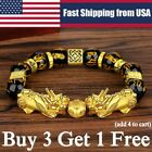 Feng Shui Black Obsidian Pi Xiu Wealth Bracelet Attract Wealth 10mm 12mm 14mm ly