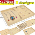 Jewelry Organizer Case Linen Box Necklace Holder Storage Earring Ring Display