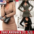 Women Ladies Deep V Neck Long Sleeve Clubwear Party Evening Sexy Bodycon Dress
