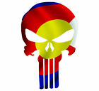 Skull State Of Colorado Cut Out Vinyl Window Bumper Flag Decal Various Sizes