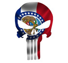 Skull State Of Minnesota Cut Out Vinyl Window Bumper Flag Decal Various Sizes
