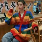 Women's Rainbow Striped Knitted Sweater Jumper Top Cardigan Coats Loose Casual