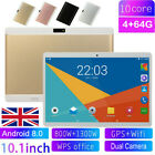 10.1 Inch Android 8.0 Tablet Pc 4+64gb Octa Core Dual Sim Camera Gps Phablet Uk