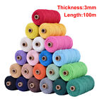 UK 3mm 100m Cotton Cord String Rope Hand-woven Clothes Craft Sewing Macrame DIY