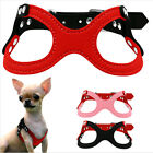 Soft Suede Leather Small Dog Harness For Pet Puppies Yorkie Ajustable Chest UK