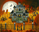 Halloween art Witch School ngiht moon pet cat print of painting DC sz 8x10 11x14