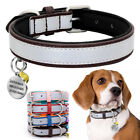 Reflective Leather Pet Dog Collar Soft Neoprene with Name ID Tag Engraved S-2XL