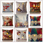 Christmas LED CANDLES LIGHTS Festival Winter Xmas Santa Unfilled Cushion Covers