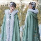 Womens White fur Wool Blend Embroidered Long Cape Jacket Poncho Ethinic Thick Sz