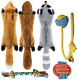 Peteast -3 Squeaky Toys and 3 Rope Dog Toys, No Stuffing Squeaky Plush Fox Puppy