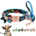 Big Flower Personalised Dog Collar and Lead Puppy Cat Pet ID Name Tag Engraved