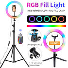 """RGB 10"""" LED Selfie Ring Light W/ Cell Phone Holder Tripod Stand For Makeup Live"""