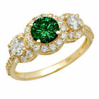 1.75 Round Cut Emerald CZ 18k Yellow Gold 3 Stone Wedding Promise Bridal Ring