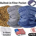 3 PACK Neck Gaiter with FILTER Pocket Bandana Breathable Scarf for ADULT and KID