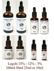 Lugols Iodine Drops 15% - 12% - 5% Solution - Various Sizes -Ultrapure Solutions