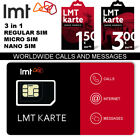 LMT Cell Phone SIM CARD 4G NEW PREPAID Anonymous Rechargeable WORLDWIDE Call Sms
