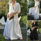 Women Long Sleeve V Neck High Low Shirt Elastic Waist Long Skirt Ladies Suit NEW
