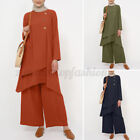 Women Muslim Abaya Dubai Set Long Sleeve Tops Shirt Blouse Wide Legs Solid Pants