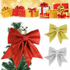 CHRISTMAS+TREE+BOW+Glitter+Baubles+Xmas+Party+Garden+Ornament+Bow+Decoration