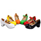 New Candy Color Women's Pumps Lady Ankle Strap Patent Leather Chunky Heels Shoes