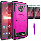 For Motorola Moto Z2 Play/Force Phone Case Shockproof Hard Cover Tempered Glass