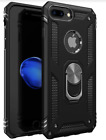 iPhone 8 Plus Case Military Grade Ring Kickstand Shock-Resistant Cover Black NEW