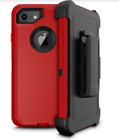 Apple iPhone 8 Case Heavy Duty Luxury Holster Kickstand Flexible Cover Black RED