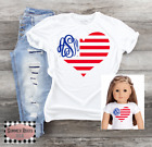 """Monogrammed American Flag Heart  Child & 18"""" Doll Matching Shirts Patriotic 4th"""