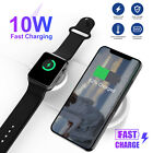 2 in 1 Wireless QI Fast Charging Pad Charger Dock for Samsung iPhone Apple Watch