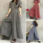 Women's Summer Short Sleeve Check Dungaree Loose O-Neck Jumpsuit Playsuit Romper
