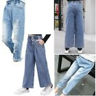 Kids Girls Denim Trousers Stylish Elastic Waistband Jeans Pockets Casual Clothes
